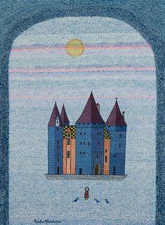 (Japan) Untitled,1969 by Keiko Minami (1911~ 2004). Etching in colors. Japan