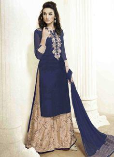 Blasting Navy Blue Beige Embroidery Work Georgette Palazzo Pakistani Suit http://www.angelnx.com/