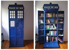 TARDIS bookshelf! ooh my gosh just think of how many books I could fit in there !!!! @Allison Boyer
