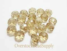 20 Champagne Gold Shadow Crystal Rondelle by OverstockBeadSupply, $3.25