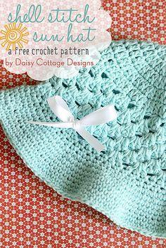 Shell Stitch Sun Hat (Free Crochet Pattern* Daisy Cottage Designs