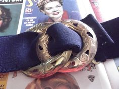 Vintage 1980s Belt Navy Blue Stretch Gold by TimelessTreasuresVCB, $16.00