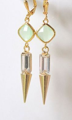 Mint Spike Dangle Earrings. Gold Dangle Earrings