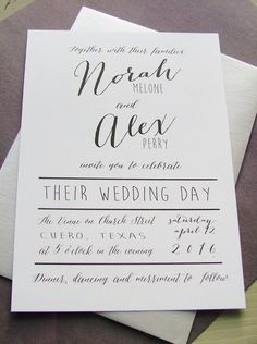 Modern wedding invitations simple preppy by sweetinvitationco - like the wording and font