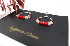 Boucles d'oreilles BAHIA inspiration ethnique/amérindienne pierres semi-précieuses cristal de roche nuances de rouge
