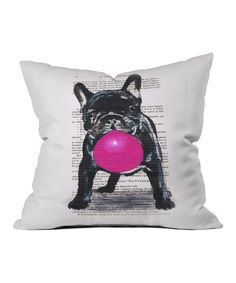 Look at this White Bulldog With Bubble Gum Throw Pillow on #zulily today!