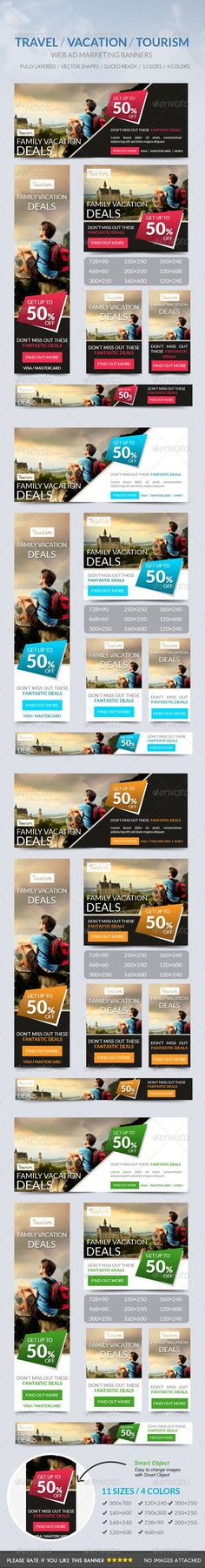 Web Banners for Travel and Tourism.  Used for Ad Marketing purposes as well