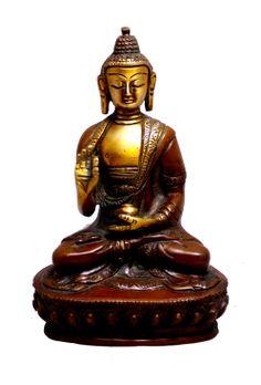 "(sku no:buddha brass statue_225) Indian Religious Buddha Sitting Two Tone Handmade Brass Idol Sculpture Statue 5.5""x3.5"""