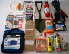 Car Emergency Kit: Flashlight  Booster cables  Shovel  Gloves  Maps  Tire pressure gauge  Tire repair kit and pump  Flares or LED Flasher  Toilet paper  Money  Battery powered radio  Extra batteries  Paper and pencil  Prescription medications  White flag to hang on antenna to, 3-day supply of food (food bars), drinking water, thermal blankets, tube tent, poncho
