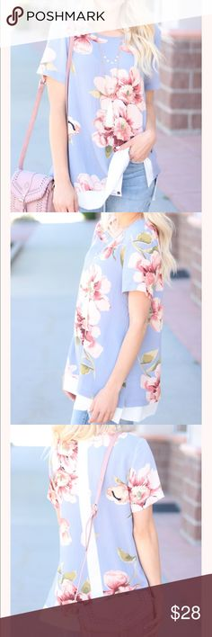 Dusty Blue Floral Ivory Trim Top SIZES FIT:: Small- 0-4; Medium- 6-8; Large- 8-10 100% Polyester Tops Tees - Short Sleeve