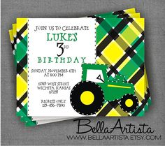 John Deere Style Tractor Birthday Party Invitation, Baby Shower Invite, New Holland. $15.00, via Etsy. TCH