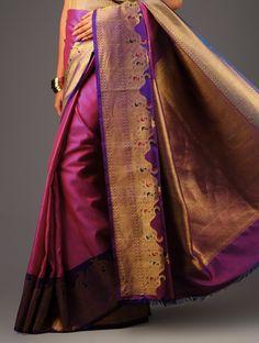 Purple-Pink Kanchipuram Silk Saree - Buy Sarees > Woven Sarees > Purple-Pink Kanchipuram Silk Saree Online at Jaypore.com
