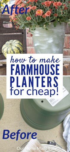 Make your own easy farmhouse planters! They are super quick to make and add so much charm to your flowers outside! Click to see how to DIY them yourself.