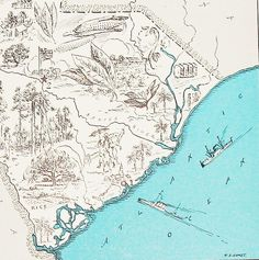 Vintage South Carolina Map A Fun and Funky by StoriesDivinations