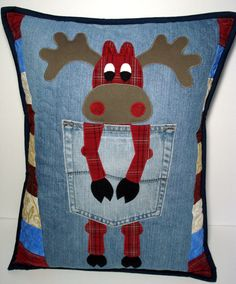 Red Plaid Northern Moose Denim Pillow by BackPocketDesign on Etsy, $85.00