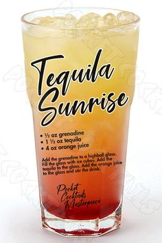 Liquor Drinks, Cocktail Drinks, Cocktail Recipes, Alcoholic Drinks, Beverages, Cocktail Tequila, Bourbon Drinks, Tequila Sunrise Drink, Sunrise Cocktail