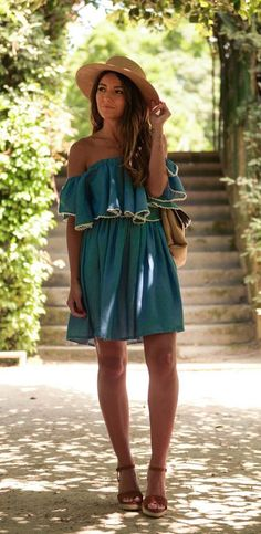#street #style green off the shoulder dress @wachabuy