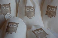 Brown Owl Cotton Muslin Drawstring favor gift bags