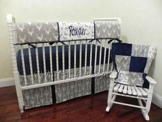 Baby Boy Bedding Set Rowan -  Boy Crib Bedding, Crib Rail Cover, Deer Baby Bedding, Gray Arrows and Navy Baby Bedding by BabyBeddingbyJBD on Etsy https://www.etsy.com/listing/456406628/baby-boy-bedding-set-rowan-boy-crib