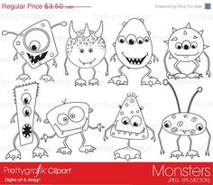 40% OFF SALE monsters digital stamp commercial use, vector graphics, digital stamp, digital images - PGDSPK391