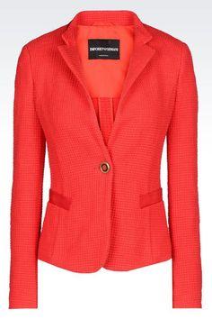 Emporio Armani Women One Button Jacket - JACKET IN STRETCH WOVEN COTTON Emporio Armani Official Online Store