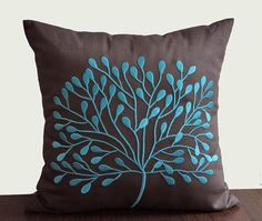 Teal Decorative Pillow Cover, Throw Pillow Cover 18 x 18, Teal Tree on Dark Brown Pillow, Linen Embroidered Pillow, Accent Pillow Teal