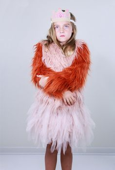 Bobo Choses Fur Jacket with Tutu Du Monde Swan Queen Tutu and Wovenplay Crown // PoppysCloset.com