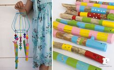 what do you do with a bunch of painted sticks? A wind chimes, of course!