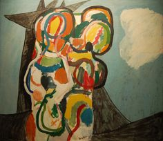 Peter Voulkos, Untitled, Two Abstract Figures in Clouds, Oil on canvas,1955, 49 x 57-1/4 inches