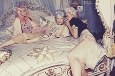 """Marie Antoinette inspired lookbook by Wildfox. May recognise some of the iconic hairstyles and colours, fashion and life of indulgence and luxury. The real Marie Antoinette lived a fascinating life, marrying at 14. Unfortunately the French people came to dislike her, accusing her of squandering funds. she was most famously misquoted for saying """"Let them eat cake"""". Nine months after her husband was executed, she was tried executed by the guillotine. Not all wigs, cake, champagne and glamour!"""