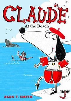 """""""Claude and Sir Bobblysock pack their bags and go on vacation to the beach. After carefully squirting sunscreen from the tip of his nose to the toes of his sensible shoes, Claude is ready for a relaxing day on the sand. Things do not always go as planned, however, and soon he finds himself rescuing a man from a shark, competing in a sand-castle-building contest and hunting for pirate treasure!"""""""