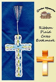 A mesh background is transformed into a beautiful cross bookmark by weaving in ribbon of different colors creating a plaid effect. Rated: Easy Pattern Information Medium: cotton thread, size Crochet Cross, Free Crochet, Knit Crochet, Cross Patterns, Crochet Patterns, Crochet Bookmarks, Crochet Snowflakes, Cotton Crochet, Candy Cane