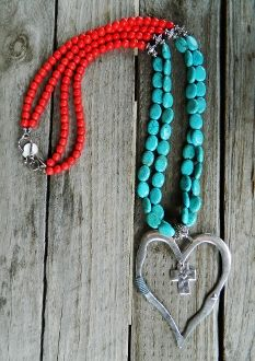 Long Double Strand Red and Turquoise Heart Pendant Necklace