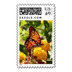 Monarch Butterfly on Wildflowers, Postage Stamp