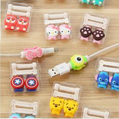 Cartoon leuke mooie usb-kabel protector kabel case voor iphone 6 plus 6 s 7 plus Cover Winder Cord Protector Organisator Kabel Boog