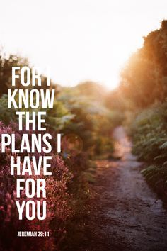 For I know the plans I have for you  {jeremiah 29:11}