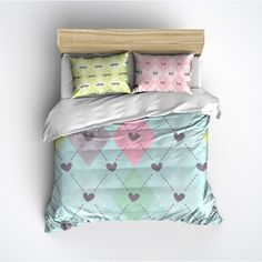 Pastel Argyle With Cute Heart Mustache Butterfly and Skull Bedding... ($95) ❤ liked on Polyvore featuring home, bed & bath, bedding, black, home & living, black queen bedding, butterfly bedding, queen bedding sets, king size bedding ensembles and black twin bedding