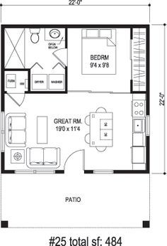 Granny pods floor plans New apartment studio layout floor plans granny flat ideas Guest House Plans, Small House Plans, House Floor Plans, Studio Floor Plans, Tiny Home Floor Plans, Guest Cottage Plans, Micro House Plans, 1 Bedroom House Plans, Small House Layout