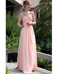 Chiffon Scoop Beading Ruching A-line Pink Prom / Evening Dress on Sale at Persun.co.uk