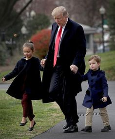 S President Donald Trump departs the White House with his grandchildren Arabella and Joseph on March 3 2017 in Washington DC Trump was scheduled to. Donald Trump Family, Donald And Melania Trump, First Lady Melania Trump, Trump Is My President, John Trump, Trump Picture, Trump Wins, Trump Pence, American Presidents