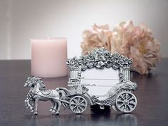 2x3 Pewter Finish Place Card Frame Wedding Coach - Nice Price Favors