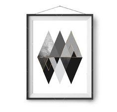 Black & Gold Printable Art, Scandinavian Print, Mountains Art, Geometric Print, Triangles Poster, Wall Art, Contemporary Print, Print Avenue