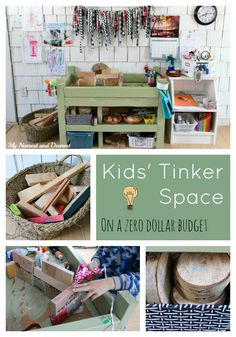 How to put together a kids' tinker space on a zero dollar budget. could be great for kids playroom or outdoor play space. Play Spaces, Learning Spaces, Kid Spaces, Play Based Learning, Pinterest Inspiration, Activities For Kids, Crafts For Kids, Activity Ideas, Stem Activities