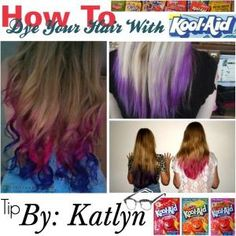 How To Dip Dye Your Hair With Kool-Aid - Find unsweetened packets (better so your hair isn't sticky). For every packet you use add one cup of water and boil it in a saucepan. Once boiling, pour the mixture into a heat proof cup or bowl. Dip the hair you want to streak or dip dye into the cup and leave it in there for five minutes (yes head over a bowl is annoying). When you remove it hold paper towel on the hair until it is dry enough that it doesn't drip. That's it! Should last 2-6 weeks…