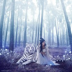 Julia Popova | Art & Retouch~  Tigers represent courage, bravery, and strength; the (white) tiger is one of the four spiritual creatures and it is guarding the West.