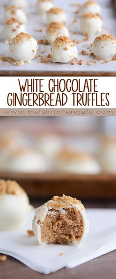 White Chocolate Gingerbread Truffles could not get much simpler, cuter or tastier.These White Chocolate Gingerbread Truffles could not get much simpler, cuter or tastier. Köstliche Desserts, Holiday Desserts, Holiday Baking, Christmas Baking, Holiday Recipes, Delicious Desserts, Health Desserts, Christmas Truffles, Christmas Snacks