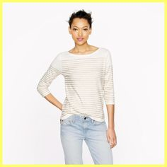 J.Crew Paint Engineered-stripe Boatneck T Shirt White / Gold. Free shipping and guaranteed authenticity on J.Crew Paint Engineered-stripe Boatneck T Shirt White / GoldNew Without Tags $45 J.Crew Engineered-Stripe Boat...