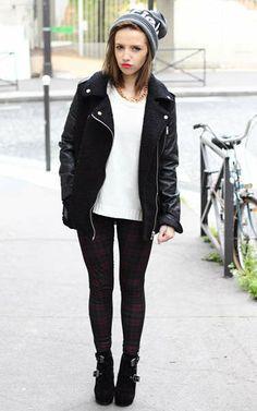 Wool Black Biker Jacket With Leather Sleeves