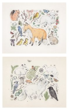 Sarah McNeil Print Set... Trying to be happy a lot of the time and Fox and Fir. $40.00, via Etsy.