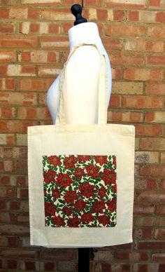 Red or Cream Poinsettia Christmas Tote Bag, Applique Christmas Bag, Gift Bag £7.00